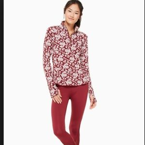 kate spade whimsy half-zip floral active jacket s
